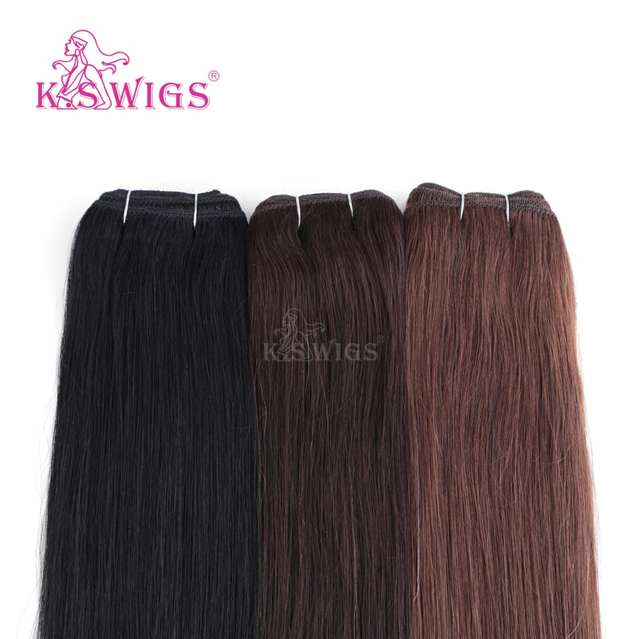 K.S WIGS 16'' Double Drawn Hair Weave Bundles Straigh Remy Human Hair Weft 110g