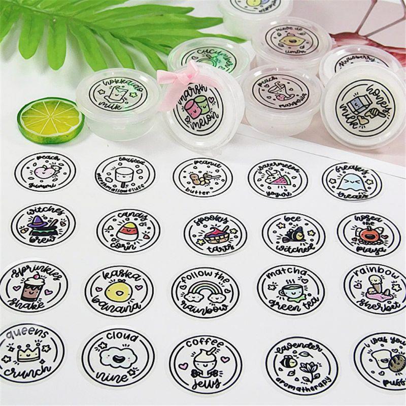 50Pcs Waterproof Round Slime Sticker Containers Sticker Storage Box Sticker Slime Supplies DIY Accessories Bottle Decoration