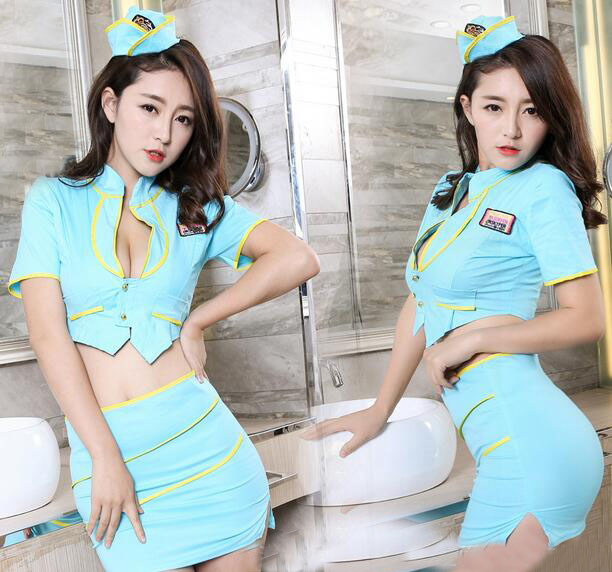 Sexy Lingerie Stewardess Policewoman Cosplay Uniform Sky Blue Deep V Women Night Underwear Set   2017 Costumes Hot