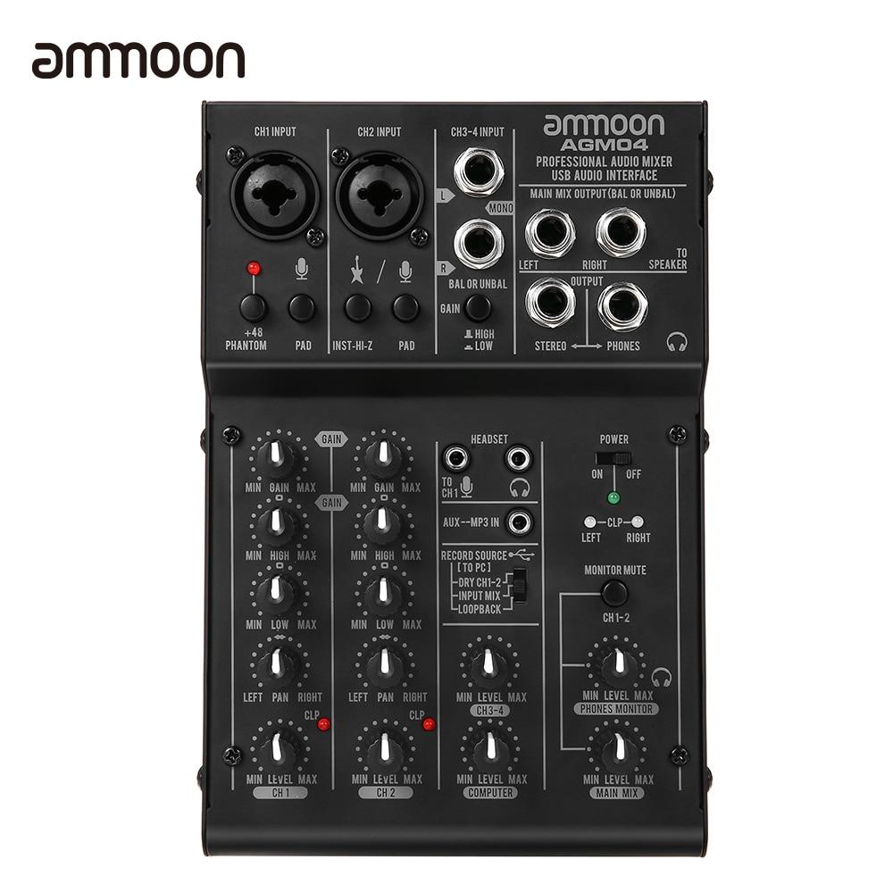 ammoon 4 Channel Mixing Console Digital Audio Mixer 2 band EQ Built in 48V Phantom Power