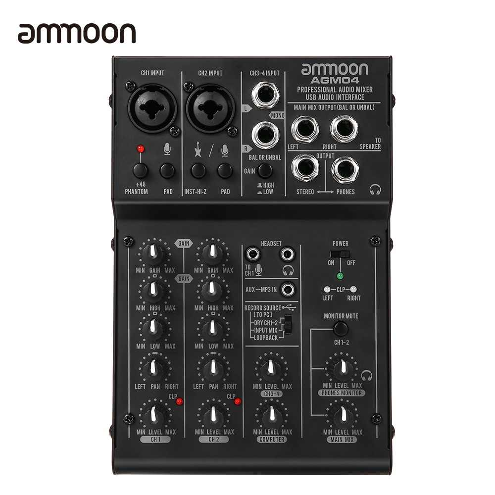 ammoon 4-Channel Mixing Console Digital Audio Mixer 2-band EQ Built-in 48V Phantom Power 5V USB Powered for Studio Recording DJ
