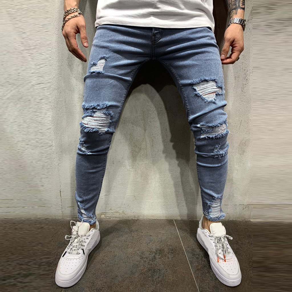 Pants Men Jeans Work-Trousers Hip-Hop Vintage Denim Hole Wash For Fashion Pure-Color