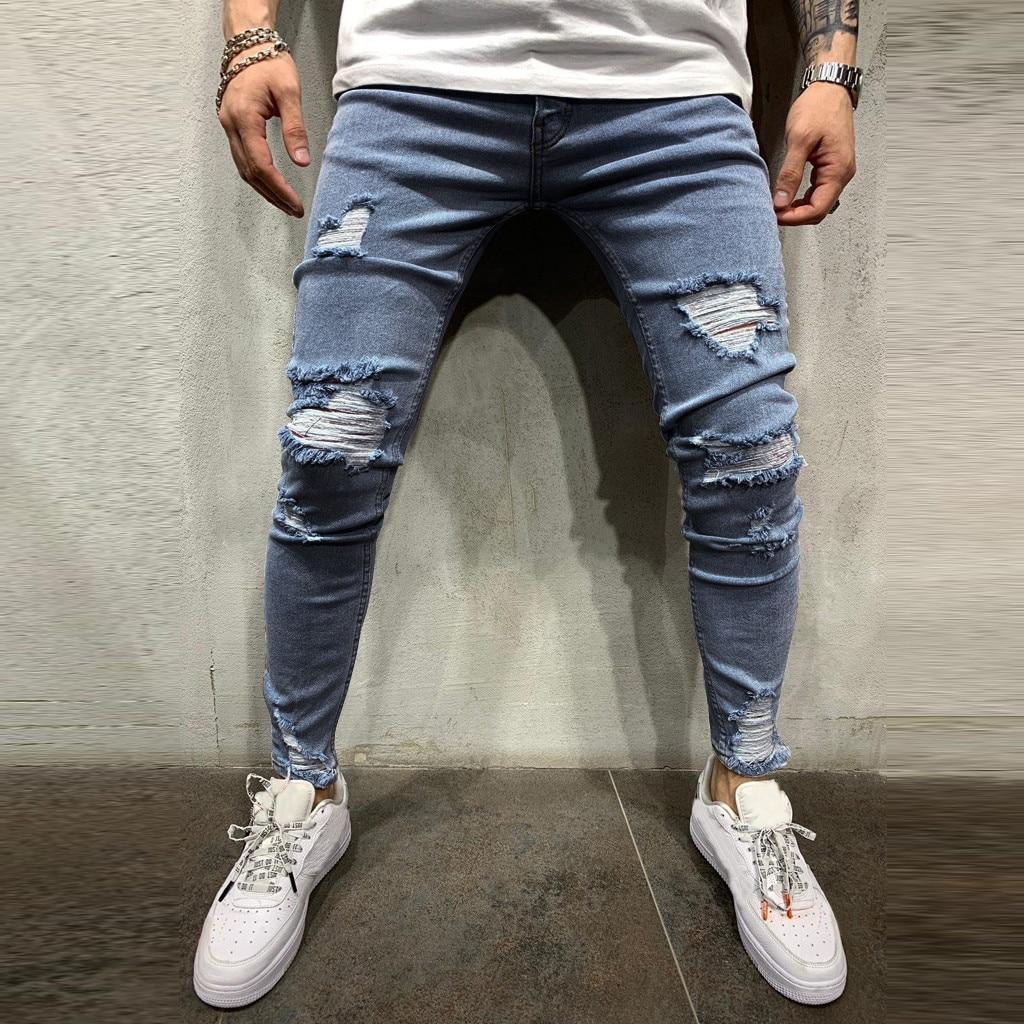 Pants Men Hip HopJeans PantsMen Pure Color Hole Denim Vintage Wash Hip Hop Work Trousers Jeans Pants Fashion Pants For Men