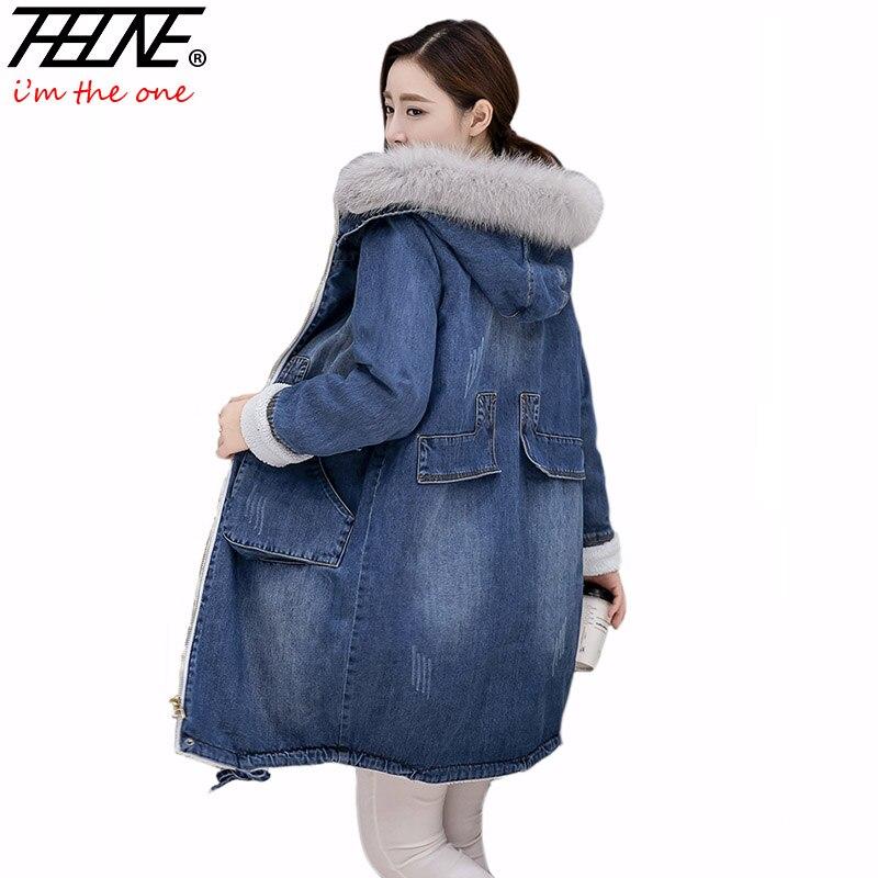 Brand Denim Jacket Women Faux Fur Coat Long   Parka   Warm Fleece Velvet Pockets Hoody Outwear Manteau Denim Coat Jeans   Parka   Female