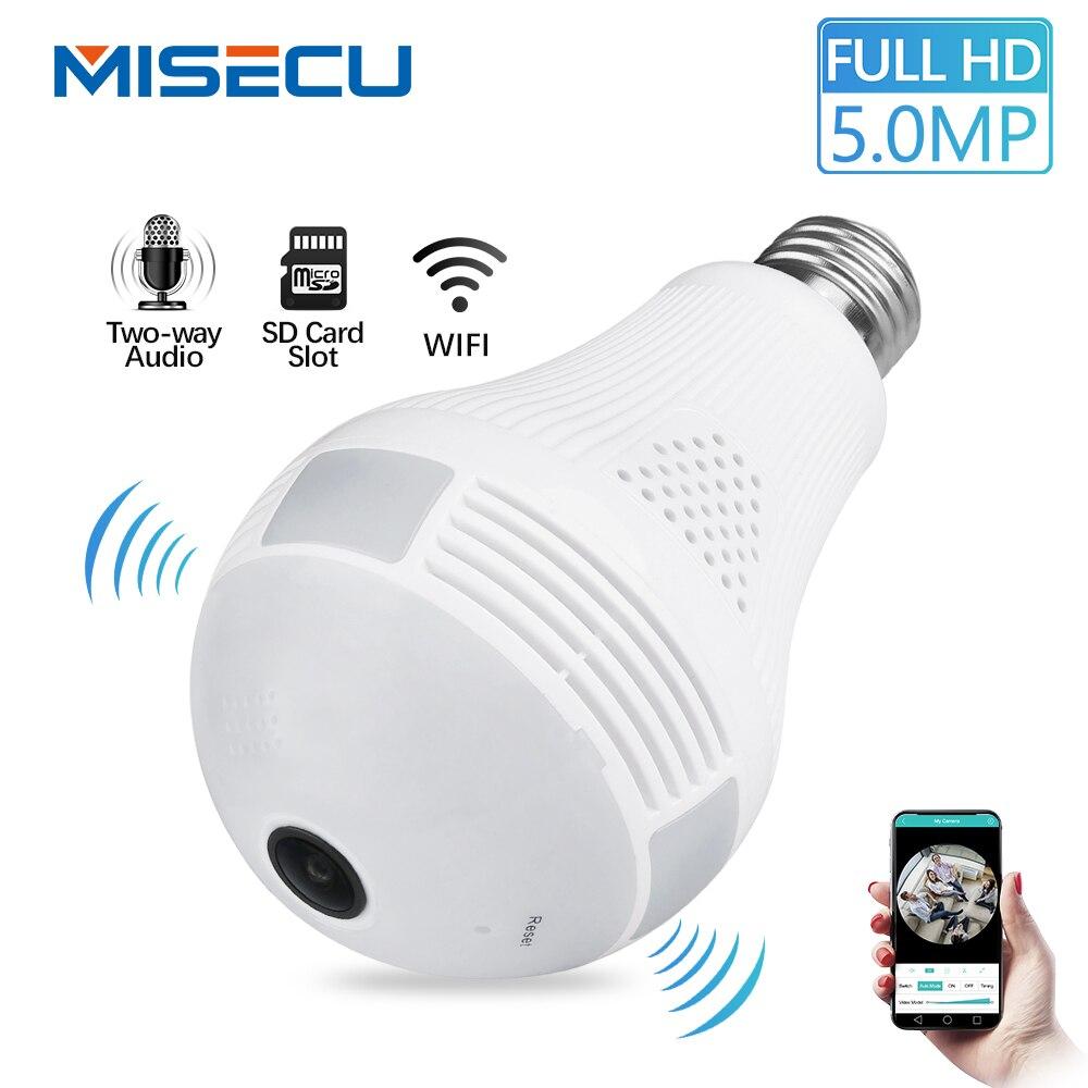 MISECU 5.0MP 3.0MP 1.3MP 360 grad VR Audio 128 GB slot Wireless IP Kamera Birne Wi-fi FishEye Home Security WiFi kamera sicherheit