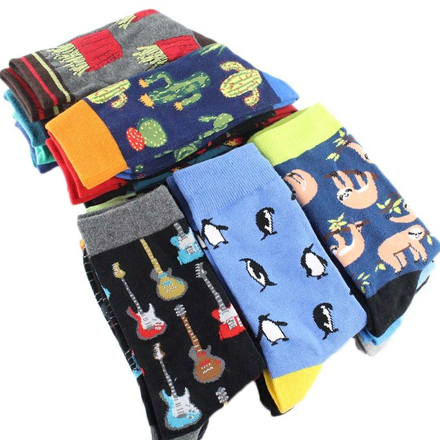 Cool Food Animal Hip Hop Crew Socks Funny Street Happy Socks Men
