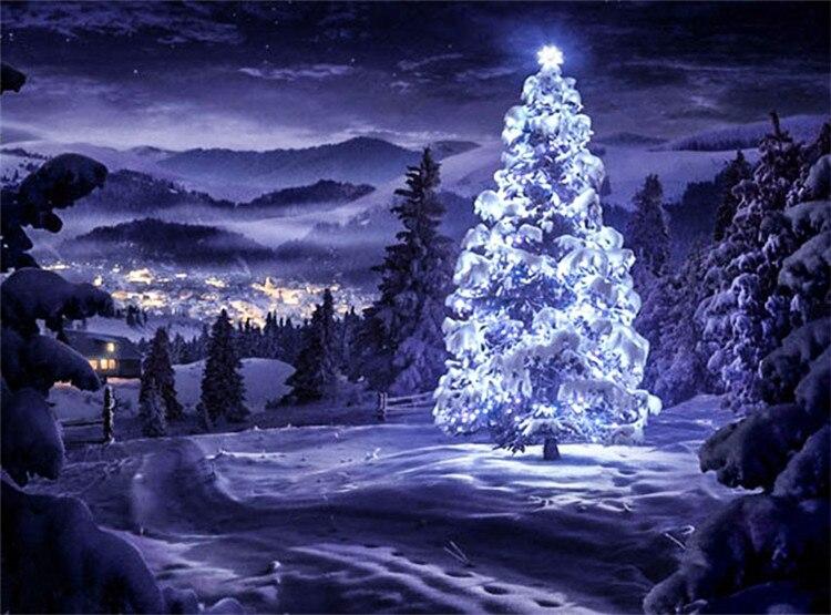 Snowy Christmas.Us 4 9 30 Off Snowy Christmas Tree Fashion 5d Diamond Embroidery Scenic Cross Stitch Rubik S Cube Diamond Painting Diy Christmas Gift In Diamond