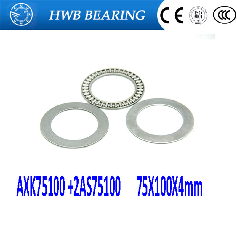 Free shipping 2pcs AXK series AXK75100 +2AS75100 thrust needle roller bearing  75X100X4mm bearing +whosale and retail 75*100*4mm na4910 heavy duty needle roller bearing entity needle bearing with inner ring 4524910 size 50 72 22