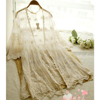 Japanese Spring Women Casual Sweet Hollow Floral All Match Lace Sunscreen Female Lotia Cute Female Shirt