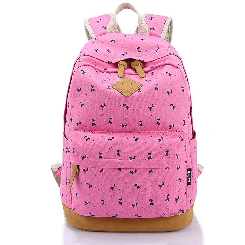 Мода 2017 г. розовый школы Рюкзаки для подростков Обувь для девочек Mochila Escolar кожа печати холст рюкзак Школьные ранцы