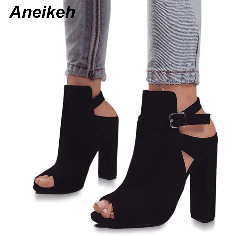 Aneikeh Women Buckle Strap Sandals For Spring Flock Cross Strap High Heels  Elegant Peep Toe Shoes 70963739dae0