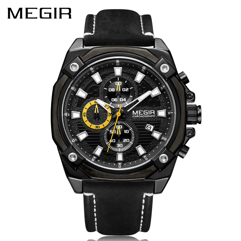 MEGIR Men Sport Watch Relogio Masculino Top Brand Luxury Chronograph Quartz Military Army Watches Clock Men Leather Reloj Hombre reef tiger brand men s luxury swiss sport watches silicone quartz super grand chronograph super bright watch relogio masculino