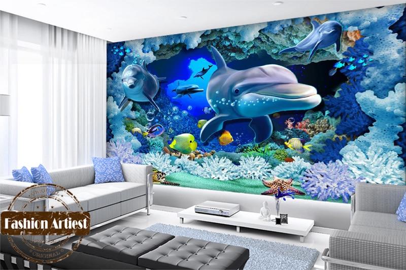 Custom 3d kids ocean wallpaper mural live fish dolphin for Aquarium mural wallpaper
