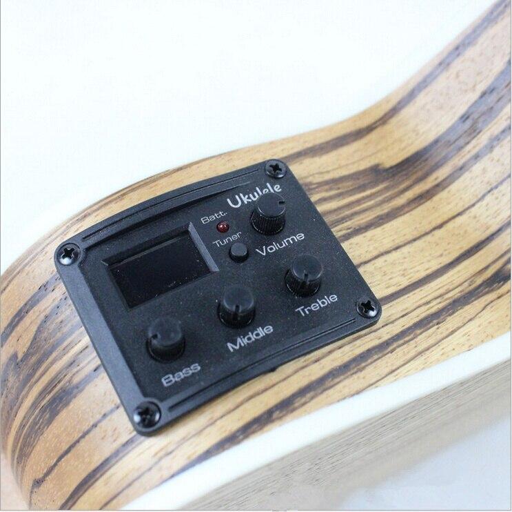 Ukelele Soprano Concert ténor acoustique électrique ukulélé 21 23 26 pouces Picea Asperata zèbre bois Mini guitare Guitarra Plug-in Uke - 5