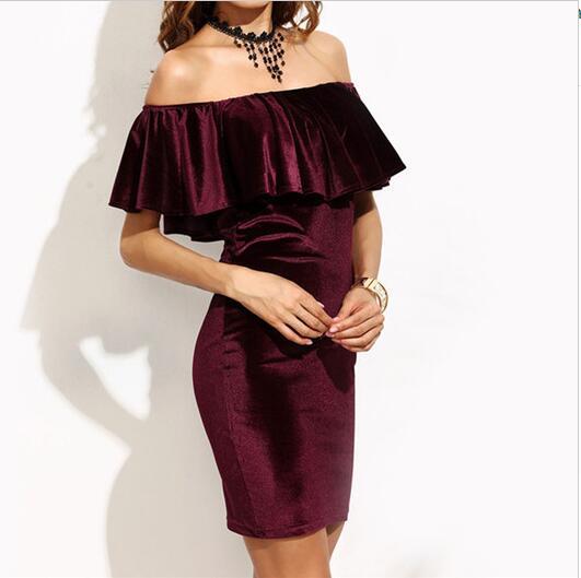 7a84ab8ddb6 Sexy Strapless Velvet Dress Tight Solid Fashion Ruffle Off Shoulder Velvet  Bodycon Dress Women Short Sleeve Club Wear Mini Dress-in Dresses from  Women s ...
