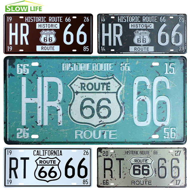 The Mother Road Route 66 Car Metal License Plate Vintage Home Decor Tin  Sign Bar Pub