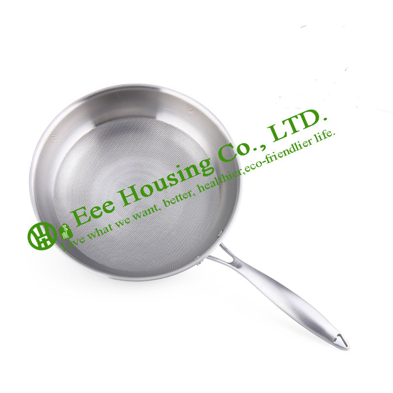 Free Shipping Stainless Steel Cookware Kitchenware,No Oil-smoke Fry Pan,non-stick Wok With Toughened Glassl Lid Kitchen