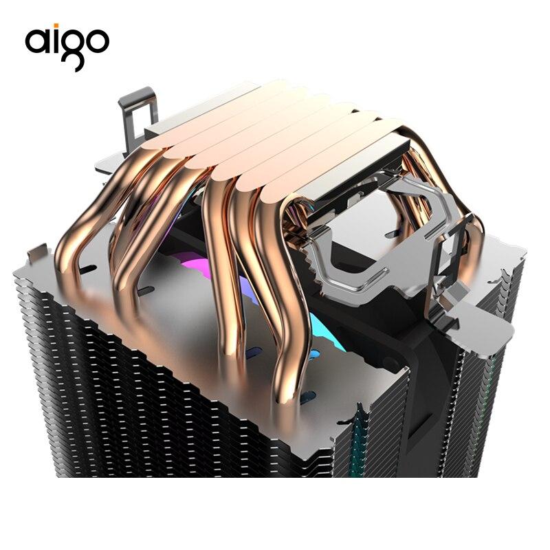 Aigo L6 Dois Cooler Torre PC Direto Em Contato Com Tubos de Calor Do Radiador Do Dissipador de Calor com 6 90 milímetros LEVOU Ventilador Do Computador CPU de Refrigeração de Ar Mais Frio