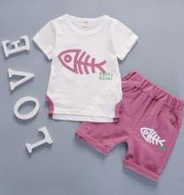 Children Costume 2019 Summer New Baby Suits Cartoon Fish Bone Short Sleeve+pants 2Pcs Set Toddler Kids Boy Clothes Set TO-047