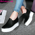 VINLLE 2017 Woman Pumps High Heel White Black Slip on Spring Autumn Women Shoes Round Toe Platfrom Black Casual Shoes Size 34-39