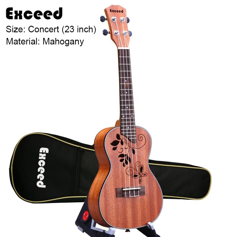 Гитара укулеле, 23 дюйма, с великолепным звуком, акустическая, ручная работа, гавайская мини гитара из красного дерева, 4 струны, музыкальный и...