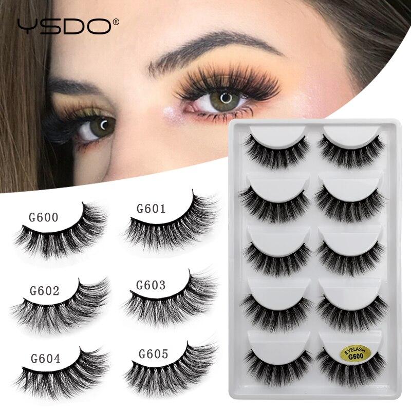 YSDO 5 Pairs Mink Eyelashes Hand Made Makeup 3d Mink Lashes Natural False Eyelashes Long Eyelashes Extension Faux Lash Maquiagem