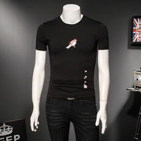 Quality Brand T Shirt Men Summer Slim Fit Short Sleeve Mens Casual T Shirts Round Collar