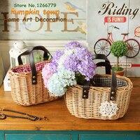 2018 Pastoral style wicker cloth storage basket,storage basket plaid basket,Zakka natural retro wicker handmade storage basket