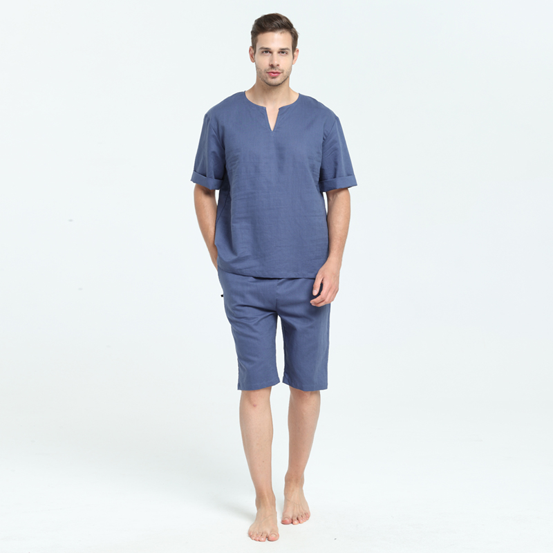 Mens Natural Linen Cotton Short Sleeve Pajamas Set With Shorts Sleep Top Sleepwear Home Wear Loungewear