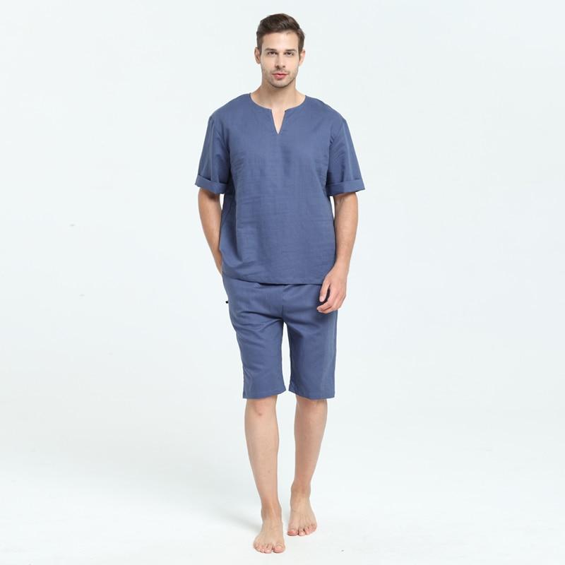 Mens Natural Linen Cotton Short Sleeve Pajamas Set With Shorts Sleep Top Sleepwear Home Wear Loungewear