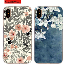 Magnolia Flower Case for iPhone5 6 7 8 Plus Leaf Cute Castolin iPhone Coque X