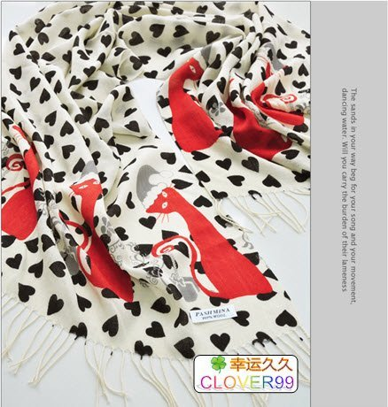 2011 Spring New Arrival Top Quality 100%  Wool Cashmere Pashmina Scarf Scarves--  Ms.Cat's Happiness BLACK