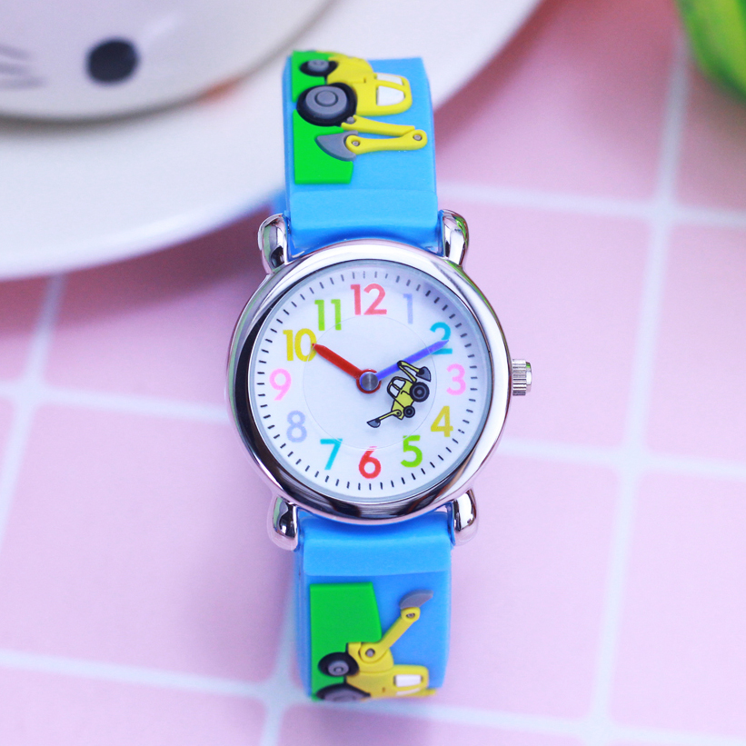 2018 Willis Brand 3D Cartoon Excavator Fire Car Quartz Wristwatches Colorful Digital Children Boys Small Watch Kids Holiday Gift