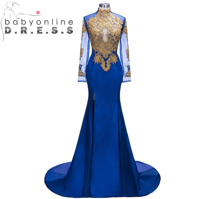 Charming High Neck Appliques Beading Mermaid   Prom     Dresses   with High Slit Long Sleeve Party Gowns Robe De Soiree Longue