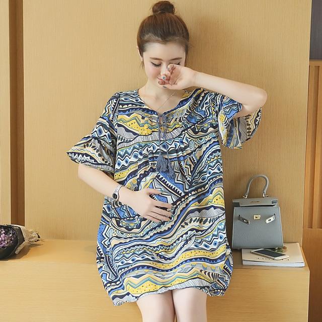 364409964425a Fashion Summer Maternity Clothes Chiffon Maternity Dress Gravida Roupa  Gestante Dresses for Pregnant Women Pregnancy Clothes