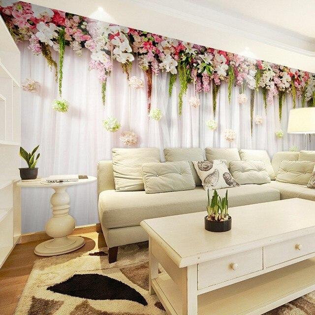 beibehang murals bedroom curtains living room TV background ...