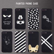 Casos de Telefone bonito Rose Lovely Dog Para iphone 7 8 Plus X Caso Para iphone 6 6s Plus XR XS Max fosco Suave Tampa Traseira(China)