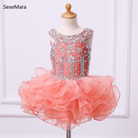 Orange Puffy Baby Girls First Birthday Dress Crystals Beading Knee Length Kids Party Formal Dress For Little Girls with Bow