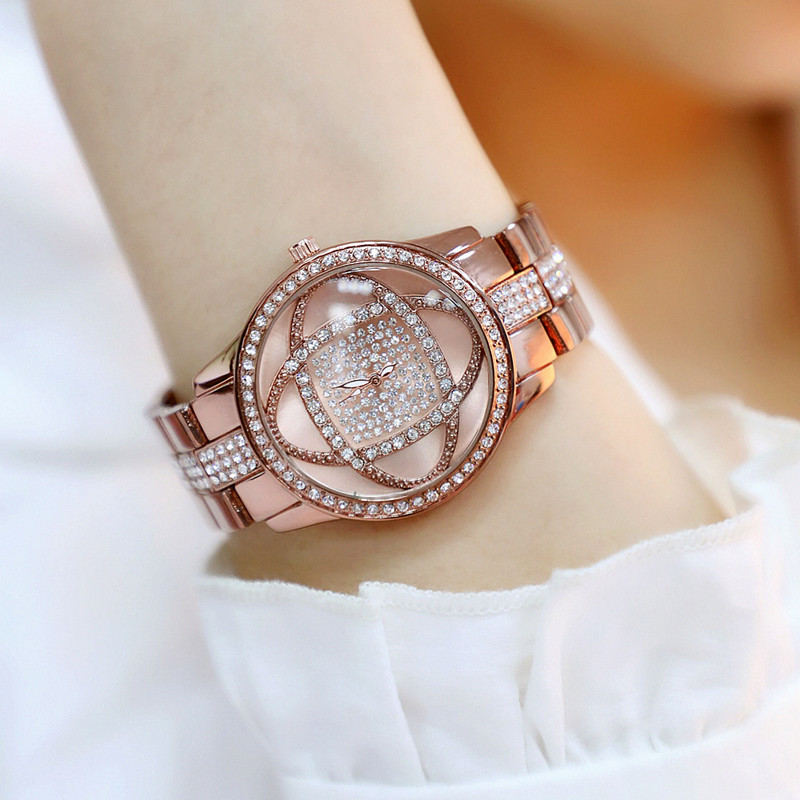 2019 New Hot Sale Digital Rhinestone Dial with Metal Strap Brown Flower Female Watch Fashion Casual Chronograph in Women 39 s Watches from Watches
