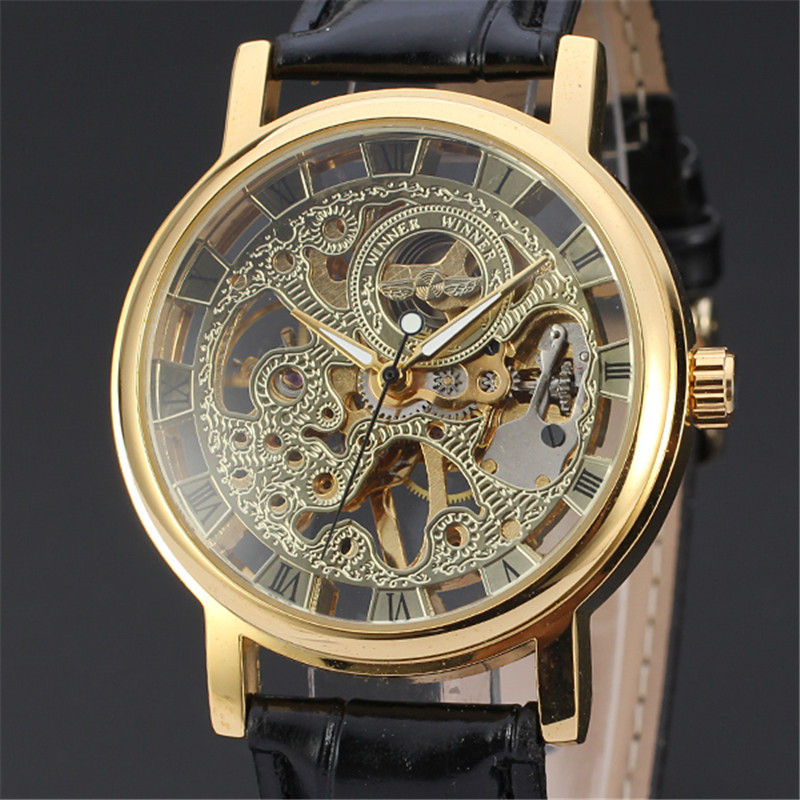 2018 Brand Winner Luxury Fashion Casual Stainless Steel Men Mechanical Watch Skeleton Hand Wind Watch For Men Dress Wristwatch luxury brand t winner self wind mechanical watch men date display watches modern stainless steel band casual men clock gift 2017