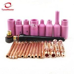 Image 2 - Argon TIG Welding Torch Consumable Tungsten Electrode Collet Body Alumina Nozzle Long Short Cap 26pcs WP18 WP17 WP26 TIG Kits