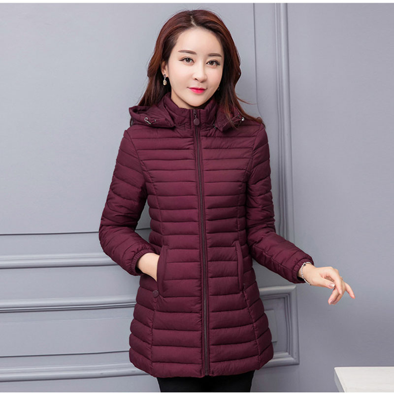 Winter Jacket Women Parka Large Size Thicken Warm Hooded Long Slim Solid Down Cotton Coat Jacket Women Outwear Parkas