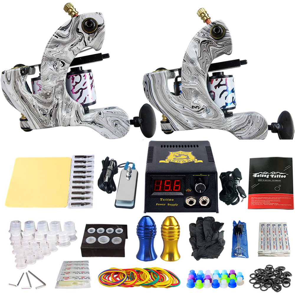 Complete Tattoo Machine Kit Set 2 Coils Guns Sets Grips Body Arts Supplies Needles Tips Tattoo Beginner Kits TK202-3 usa dispatch complete beginner tattoo kit 3 machines guns lcd power needles tips grips set equipment supplies
