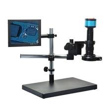 Big discount 2.0MP HD VGA Digital Industry Industrial Microscope Camera+180X C-Mount Lens+8″ HDMI LCD Monitor+Big Stand Holder+144 LED Light