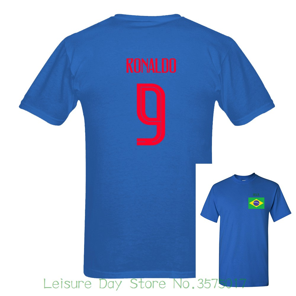 premium selection 255b4 546c5 US $14.55 9% OFF|Brazil Ronaldo Number 9 Sleeve Tee Light Russia World  Match Cup 2018 Newest 10 Colors T Shirt Mens Fans Footballer Short-in  T-Shirts ...