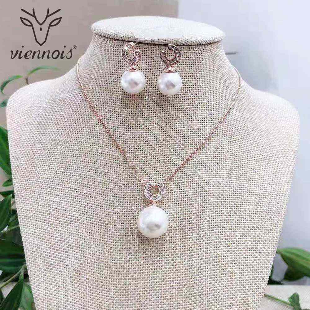 Viennois Simulated Pearl Necklace Set For Women Silver / Rose Gold Color Zinc Alloy  Wedding Paved Bridal Jewelry 2019