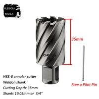 22 35mm HSS E Annular Cutter With Weldon Shank 35 35mm High Speed Steel Core Drill
