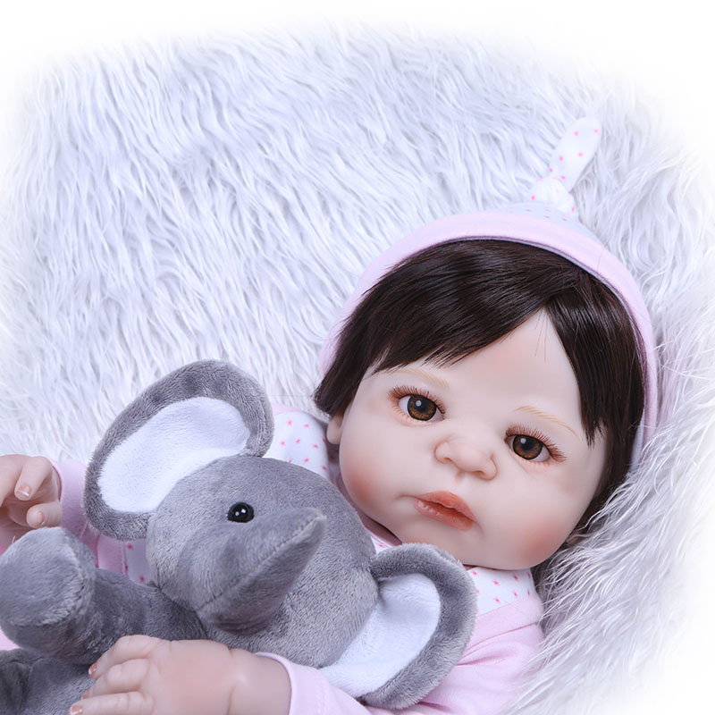 Hot Selling 56CM Reborn Doll Full Body Silicone 3D Lifelike Jointed Newborn Doll Playmate Gift 56cm baby reborn doll full body silicone 3d lifelike jointed newborn doll playmate gift bm88