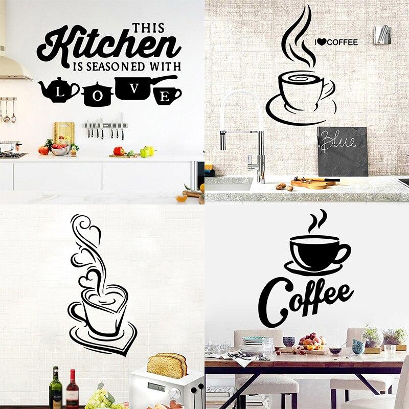 Hot 1pc Kitchen Wall Sticker Cuisine Coffee Vinyl Stickers Poster