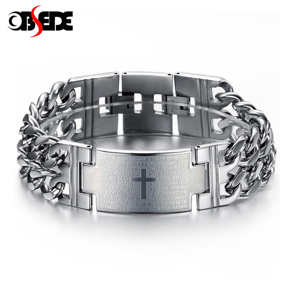 OBSEDE Men Punk Lord's Prayer Jesus Cross Bracelet Titanium Steel Bracelets 316L Stainless Jewelry Charm Bangle Chain Wristband brand new cross vintage stainless steel animal bracelets men punk style charm anchor bracelets